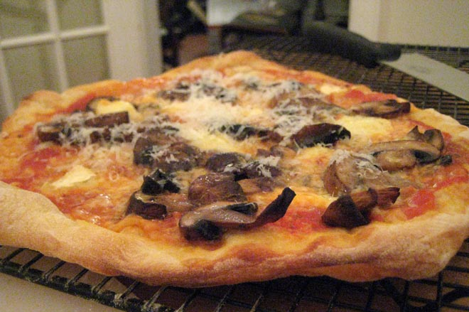Pizza with Mushrooms and Brie