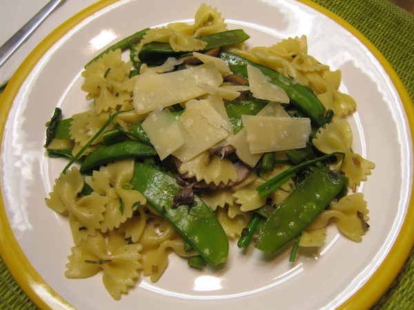 Asparagus with shiitakes, farfalle, and spring peas
