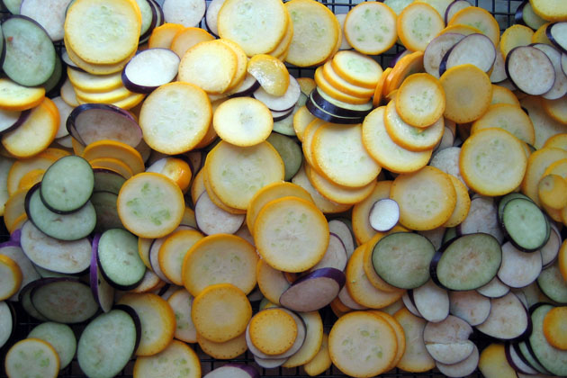 Salting Sliced Squash & Eggplant