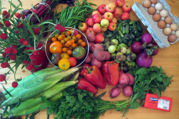 Corn, Flowers, Beets, Green Beans, Apples, Cucumbers, Eggs, Onions, Tomatillos, Parsley, Basil, Potatoes, Bell Peppers, Tomatoes