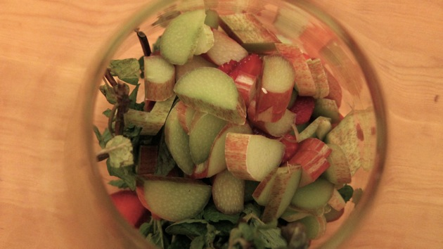 Rhubarb, Strawberries & Mint in a glass jar