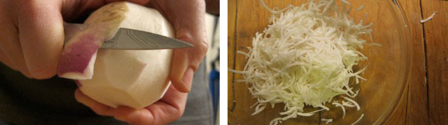 peeling and shredding turnips