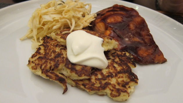 turnip latkes salmon and cole slaw