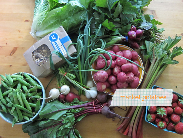 potatoes and other finds from Midtown Farmers Market on our kitchen table