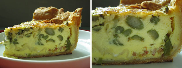 cross section, or slice, of a deep-dish asparagus quiche
