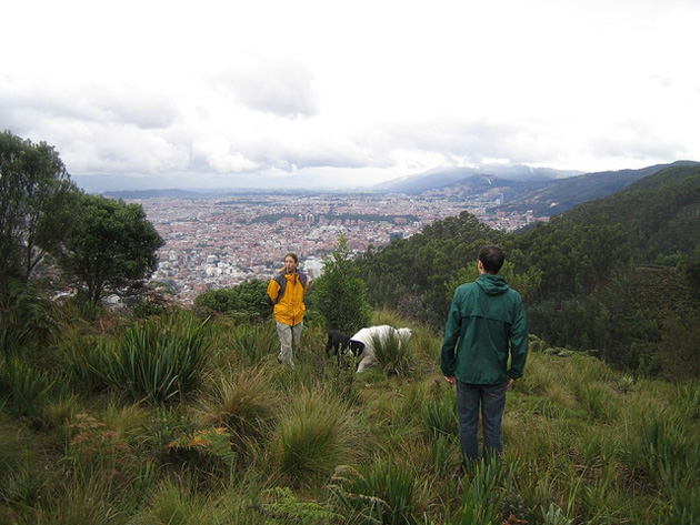 two men and a dog in the hills above the city