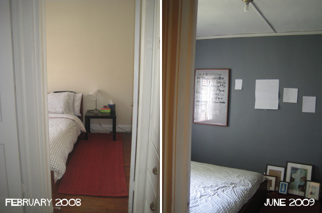 two images of the same bedroom at two different times