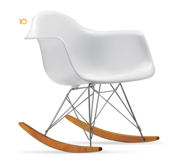 Eames Molden Plastic Rocker in White