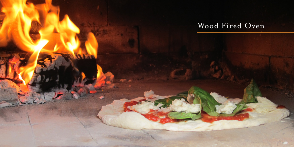 a pizza enters the wood fired oven