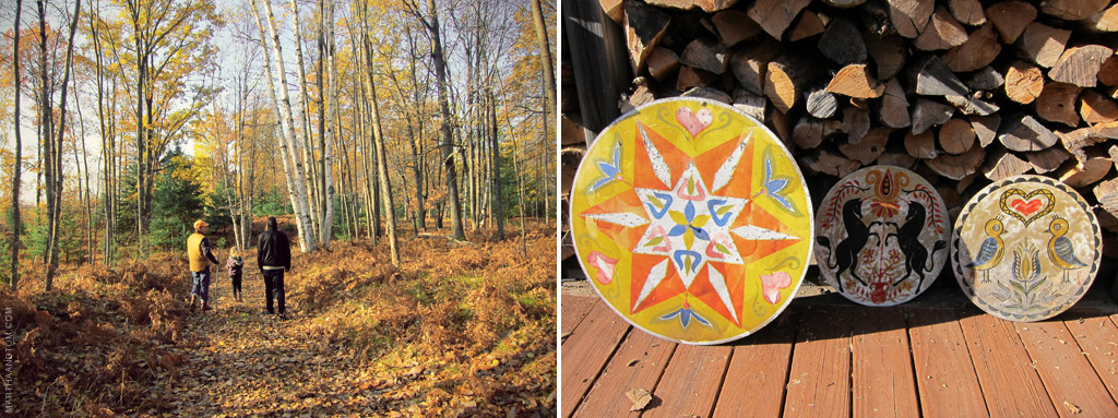 walking in the woods (left) and decorative circles, removed from the cabin's outer walls (left)