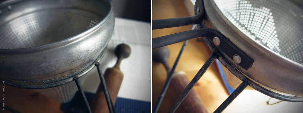Great-Grandmother's Sieve for making apple sauce. Details from two angles pictured side by side.