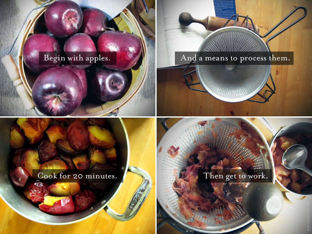 Steps for making applesauce in four photos.