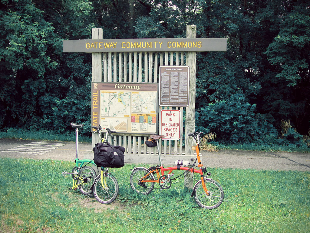 Brompton Bicycles at the start of the Gateway Trail
