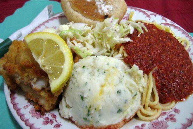 Pollack, Cole Slaw, Spaghetti, Mashed Potatoes, Bun