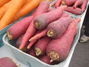 Purple skinned carrots (they're orange on the inside)