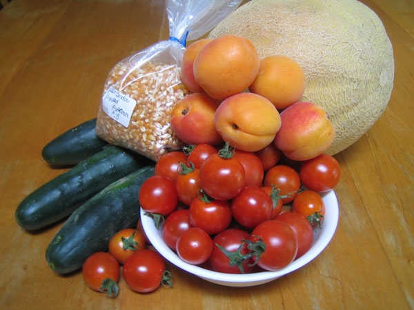 Cucumbers, Tomatoes, Amish Popcorn, Apricots, Honeyrock
