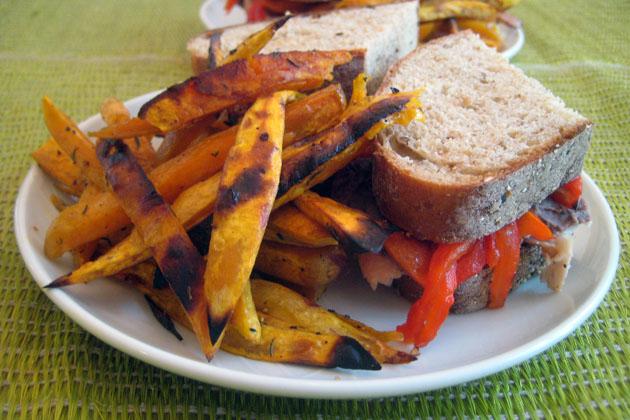 Sweet Potato Fries and Turkey Sandwiches