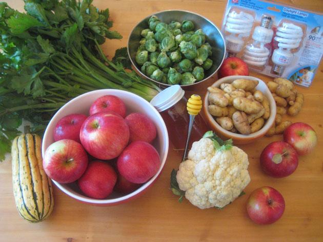 Haralsons, Celery, Brussels, Fingerlings, Cauliflower, Honey, Bulbs
