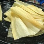 Soaked corn husks.