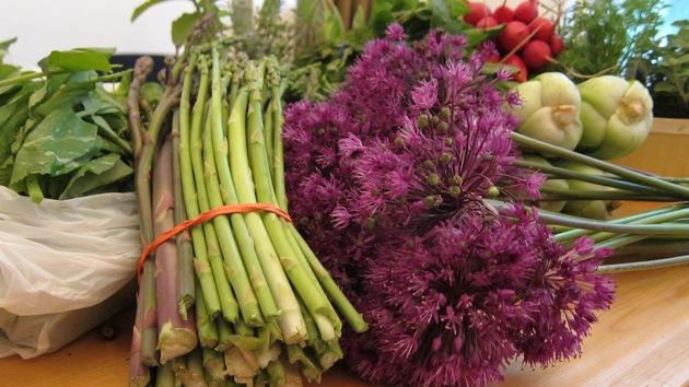 asparagus, purple farm flowers, and other vegetables spread on a table