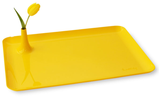 yellow breakfast tray with vase