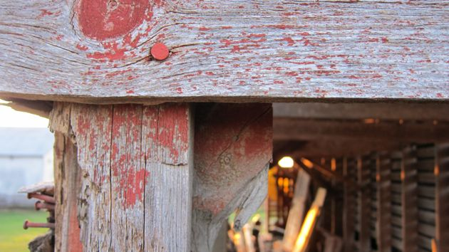 detail of the machine shed at sunset