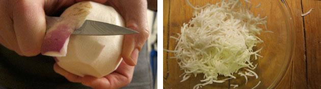 peeling and shredding turnips