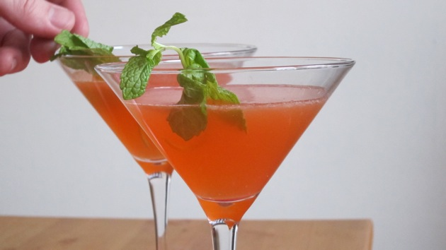 two reddish orange cocktails with mint garnishes sitting on a wooden table on a white background