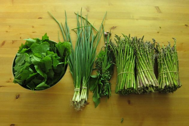 garlic mustard greens, green onions, herbs, asparagus on a wooden table from above