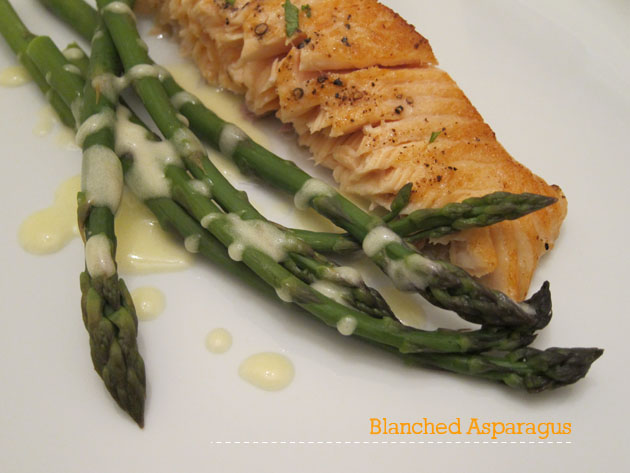 salmon and blanched asparagus topped with aioli
