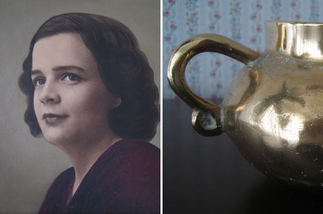 portrait of grandmother and copper pot