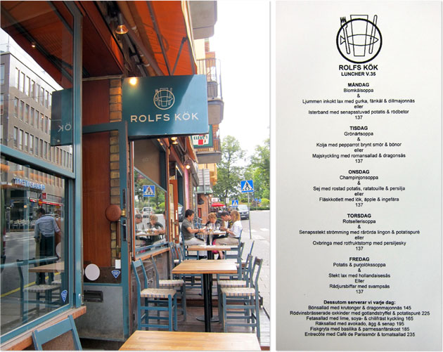 Rolf's Kök patio seating and menu