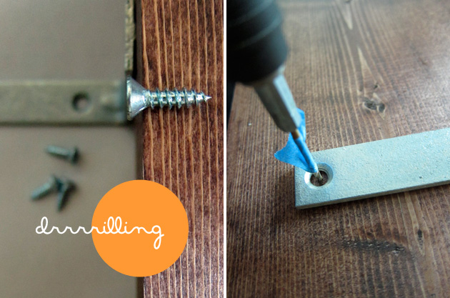 drilling pilot holes for screws in a board