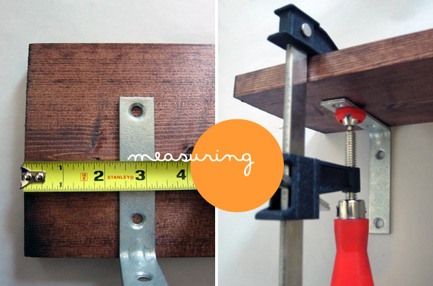 positioning the l-bracket in relation to the shelf before attaching with screws