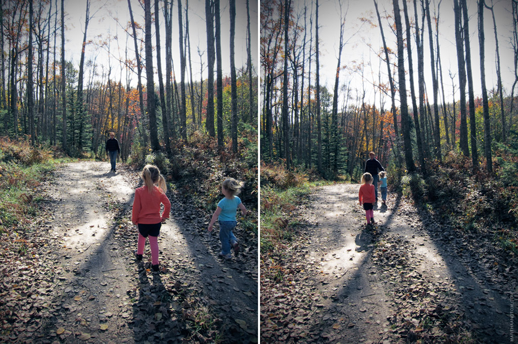 two shots, at slightly different points in time, of two girls running in the woods toward their grandfather