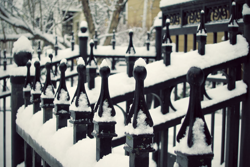Dollops of snow on a Minneapolis fence