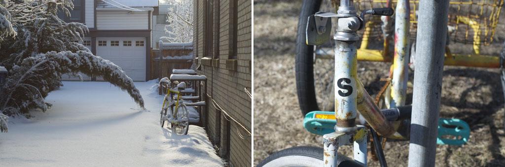 bike in the Minnesota springtime snow (left) and bike in spring sunshine (right)