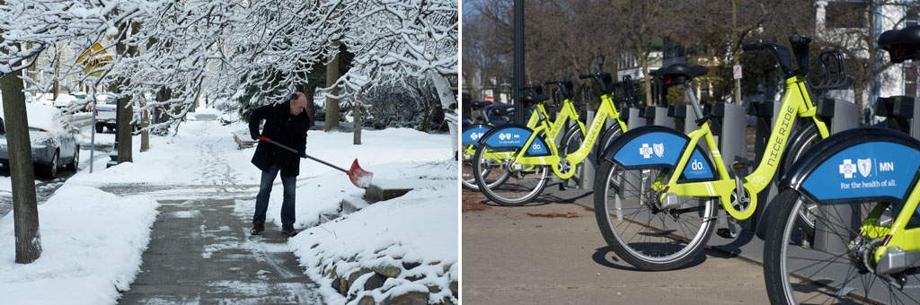 sidewalks in snow and sunshine in Minneapolis