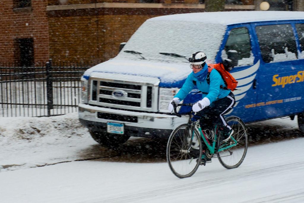 Snowy Minneapolis bike commute